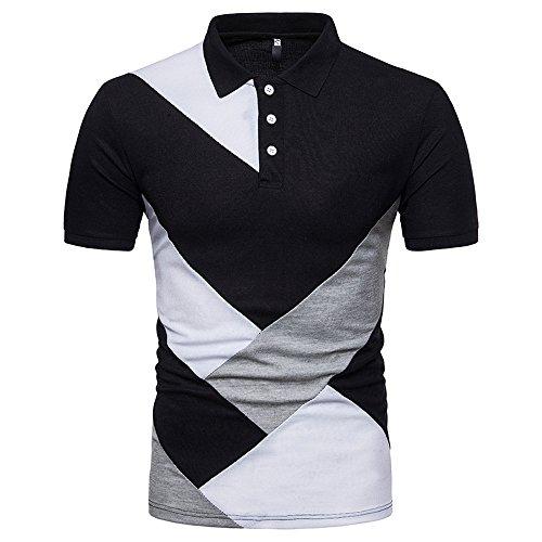 Camiseta Basica para Masculino de Moda Manga Corta Polos de Simple a Rayas  Remera Slim Color 4bdc994eeafc