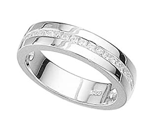 Elements Silver Clear Cubic Zirconia Channel Set Sterling Silver Ring