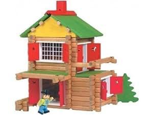 Jeujura - mon chalet en bois 135 pcs + voiture et personnage - jouet en bois by JeuJura