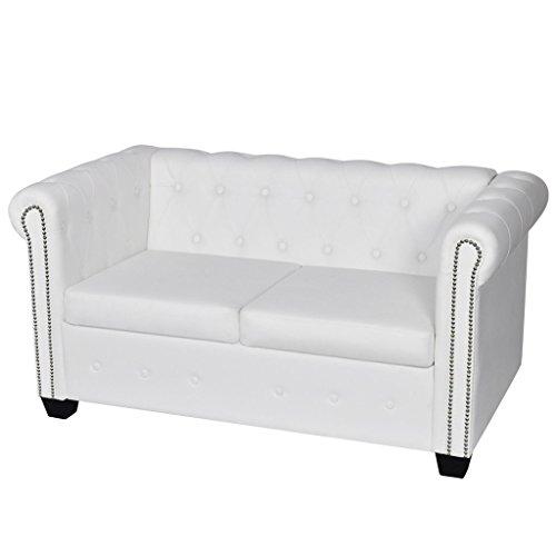 Festnight divano chesterfield in ecopelle/pelle artificiale bianco a 2 posti da soggiorno da ufficio da salotto