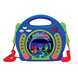 Lexibook PJ Masks Catboy CD player for kids with 2 toy microphones, headphones jack, with batteries, blue, RCDK100PJM