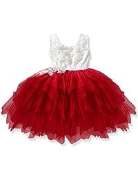 Morbuy Ropa de Niñas, Niñas Niños Flor de Encaje Rojo de Princesa Vestidos de Niñas