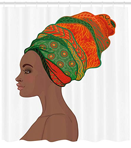 MLNHY African Woman Shower Curtain, Afro Female Young Beauty Traditional Hair Dress Turban Ornate Fabric Bathroom Decor Set with Hooks, Chocolate Scarlet,Size:66W X 72L Inche 66 Chocolate Mold