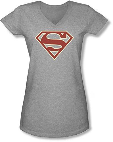 Superman - Junge Frauen Crimson & Cream Schild mit V-Ausschnitt T-Shirt, XX-Large, Heather Damen Crimson Cream