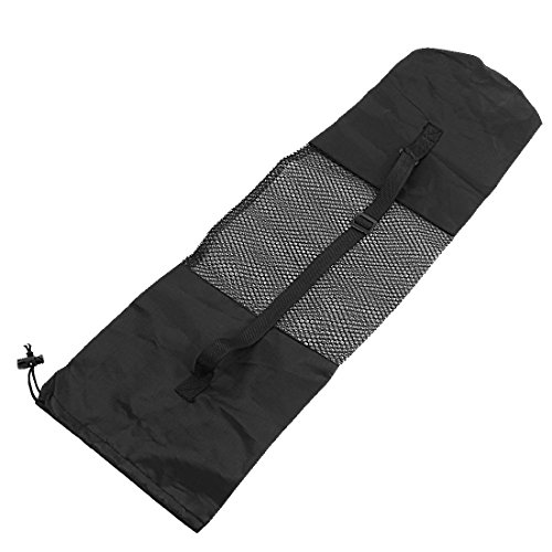 sourcingmap® Verstellbarer Riemen Schwazer Nylon Yoga Pilates Mat-Center Netz Tragetasche