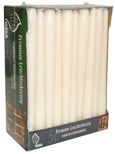 50, elfenbeinfarben/Creme 25cm konisch Abendessen Kerzen. Hohe Qualität für Home/Events/Restaurant. (Bulk-taper Kerzen)