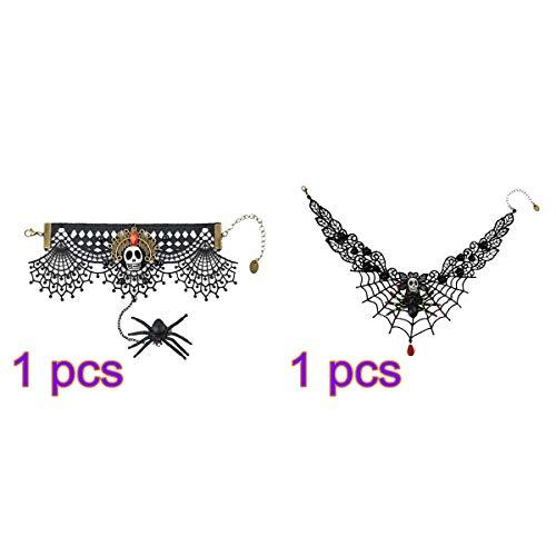 BESTOYARD 2pcs Halloween Lace Armband und Halskette Schädel Ghost Head Spider Hand Blutstropfen Anhänger Halskette und Armband für Frauen (Spider-armband)
