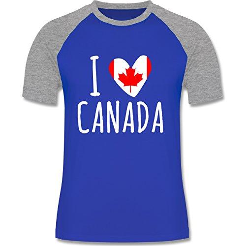 I love - I love Canada - zweifarbiges Baseballshirt für Männer Royalblau/Grau meliert