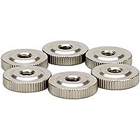 M6 R/ändelmutter H/öhe Form,knueled mit Kragen Rund Daumen Nut,Carbon Stahl,Nickel Auflage,20 St/ück,Silber