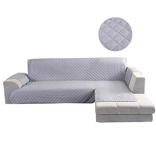 BOTTLEWISE Sofabezug Sofaüberwürfe für Ecksofa, rutschfest&Wasserabweisend Schützen vor Haustiere und Kindern (Rechts 4 Sitzer Grau)