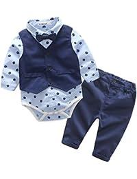 Ropa Bebé niño, Amlaiworld Bebé de impresión Tops mameluco + chaleco + pantalones 3pcs ropa conjunto 0-24 Mes
