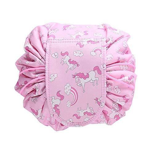 Lomire Kosmetiktasche, Wasserdicht Kosmetikbeutel, Quick Make up Tasche, Große Kapazität Reisetasche für Lazy Damen (rosa) -