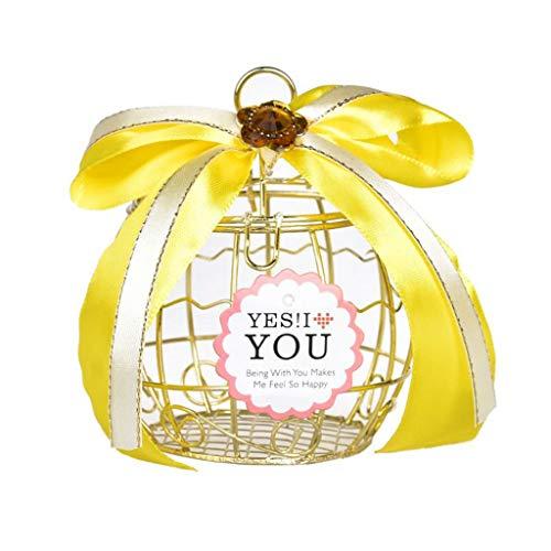 TianranRT★ Hochzeit Pralinenschachtel, Schöne Und Elegante Vogelkäfig Box Hochzeit Dose Pralinenschokolade, Gold (B)