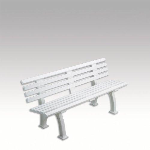 Gartenbank, Parkbank, Bank aus Kunststoff, weiß, 150 cm