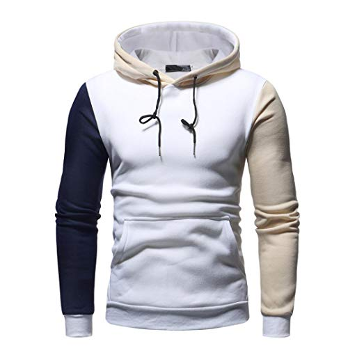 SEWORLD Sport Herren Mode Freizeit Oberteile Bluse Sommer Herbst Einzigartig  Herren Winter Langarm Patchwork Vlies Hooded Sweatshirt Outwear Tops(Weiß  ... 2fd2a7223b