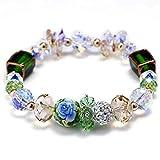 ZSML Damen Österreichisches Kristall-Armband grün Baladed Bangles, Ethnische Stil Mode bemalt Schmuck Armbänder Frau kostbares Geschenk