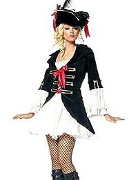 Ladies Caribbean Pirate Fancy Dress Halloween Full Costume Dress + Free Hat!