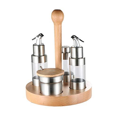 Erfula Edelstahl Menage Set 5 Teilig, Salzmühle, Pfeffermühle Ständer, Für Öl, Essig Flaschen-Set (Holz-essig)