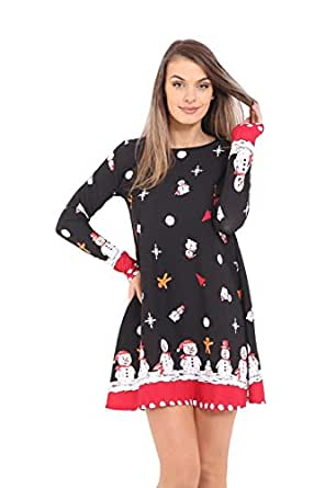New Women Ladies Christmas Xmas Snowmen Tree Swing Novel Mini Dress Party Gift