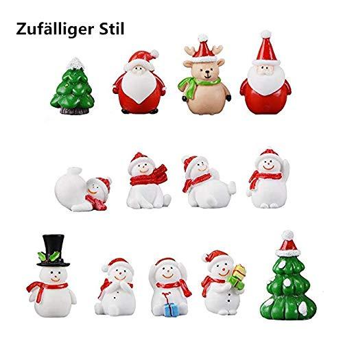 LILITRADE 13 Stück Harz Miniatur Figuren Weihnachten Mini Ornamente für Deko Weihnachtsdeko Zuhause Tisch Dekoration Landschaft DIY Zubehör Schneemann Weihnachtsmann Baum