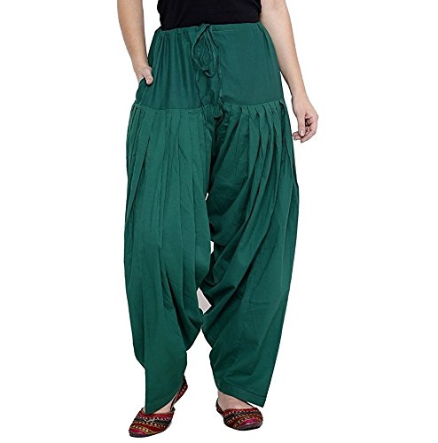 kalpit creations Women\'s plain Cotton Comfort Punjabi Patiala Salwar Bottom Pants Semi-Patiala Salwar for traditional look(available in all colours and sizes) (RAMA GREEN)