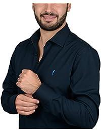 """DOMENICO AMMENDOLA, Camicia da Uomo """"Club"""" blu, Cotone 100%, Regular Fit, collo francese piccolo, Made in Italy"""