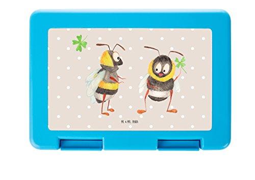 Mr. & Mrs. Panda Brotdose Hummeln mit Kleeblatt - 100% handmade in Norddeutschland - Brot, Arbeit, Biene Deko, Dose, Spruch positiv, Spruch schön, Schüler, Frühstücksdose, glücklich sein, Schülerin, Hummel, stabil (Bienen, Brot)