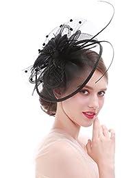 dressfan Fascinador Flor Malla Cinta Headwear Mujer Velo Diadema Pinzas para  el cabello Hairband Tocado Accesorios bbd22d98546b