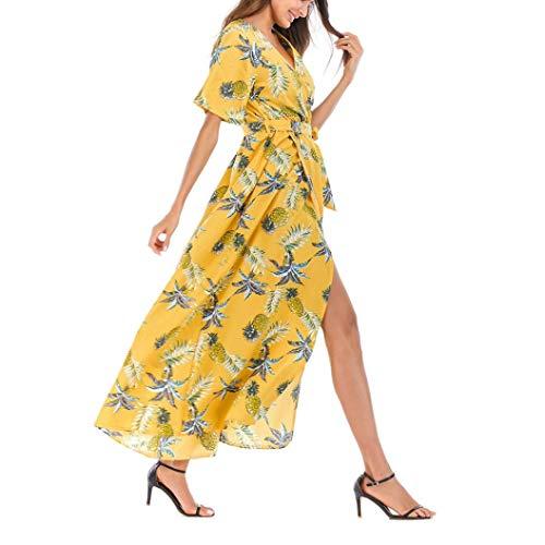 Robe de Soirée,GongzhuMM Robe Longue Divisé Robe de Plage Imprimée à L'ananas à Col en V Robe Maxi Femmes Tunique Manches Courte Robe de Cocktail