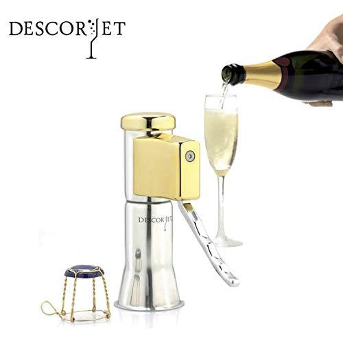 Descorjet® - Ouvre de bouchons bouteilles champagne original. accessoire professionnel pour creuser, idéal pour votre cuisine. étillantes corps en acier inoxydable baigné d'or (Descorjet® Gold)