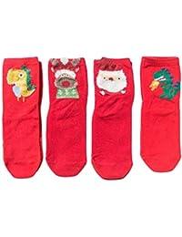 Mxssi 4Pairs/Box Caja Regalo Calcetines Navidad para Niños Niños Gitrls Otoño Invierno Cute Sartoon Santa Claus Patrones Ciervos Calcetines Algodón
