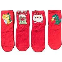 Hibote 4 Par/lote Caja de Regalo Niños Niñas Niños Lindos Dibujos Animados 3D Algodón Animal Calcetines para Niños Moda Calcetines Navidad