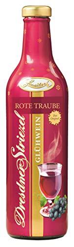 Dresdner Striezel Glühwein - Rote Traube - in der Glasflasche mit dem Bild der Dresdner Frauenkirche, das Glühwein-Präsent mit 6 x 0,75 l