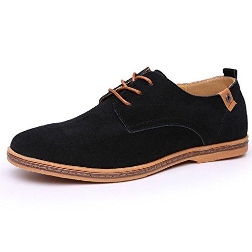 Oriskey Chaussures de Ville à Lacet Homme Cuir Suede Oxfords Casual Chaussons Noir