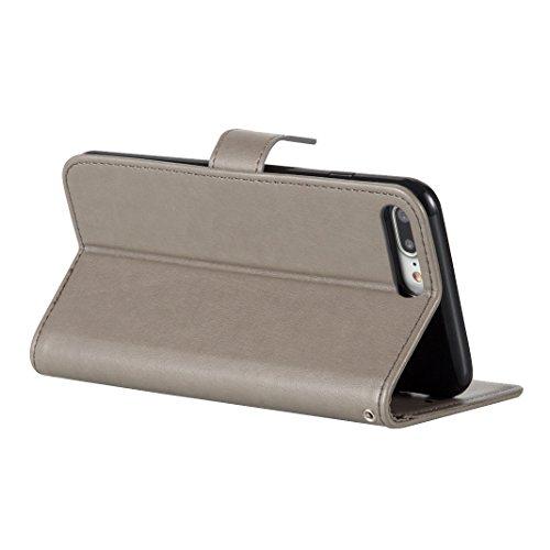 Tasche iPhone 7 Plus, iPhone 7 Plus Grün Leder Handyhülle, Moon mood® Ledertasche Brieftasche für iPhone 7 Plus(5.5 Zoll) ,PU Leder Hülle Wallet Case Folio Schutzhülle Schutz Schale mit Bronzing Schme Grau