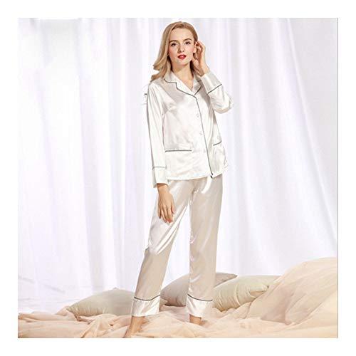 Haoliequan spring sleepwear lady pigiama maniche lunghe pantalone 2 pezzi set satin silk nightwear marca donna pigiama set, bianco, l