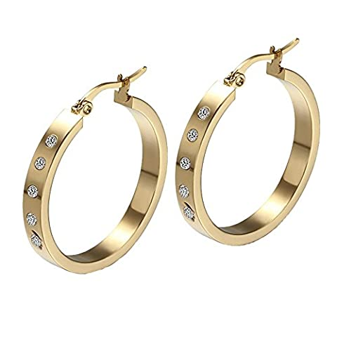 Mode Elegant Kreative Titan Edelstahl Ohrringe Strass Ohrringe Creolen Damen Mädchen Geschenk