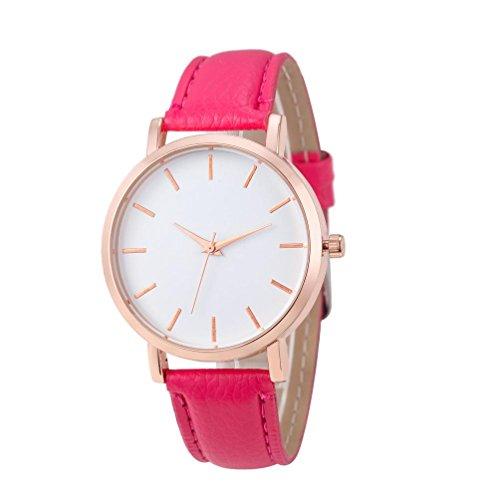 (UNNSEAN Uhr,Mode Uhren Leder Edelstahl Männer Frauen Stahl Analog Quarz-Armbanduhr Einfach Damen Klassisch Dünn Armbanduhr (Pink))