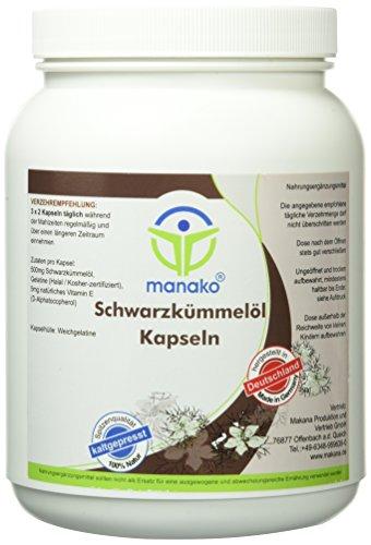 manako Schwarzkümmelöl Kapseln, 1250 Stück, Dose a 920 g (1 x 1250 Kapseln)