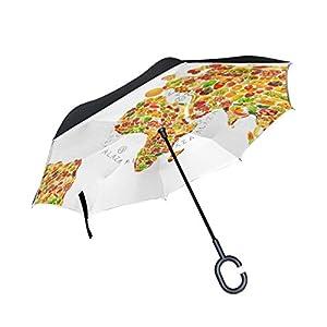 jstel doble capa diseño mapa del mundo frutas y verduras paraguas coches Reverse resistente al viento lluvia paraguas para coche al aire libre con asa en forma de C