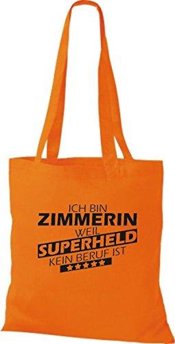 Shirtstown Stoffbeutel Ich bin Zimmerin, weil Superheld kein Beruf ist orange