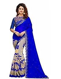 I-Brand Women's Georgette & Mono Net & Banglori Silk Fabric Saree With Blouse Piece (Royal Blue_FREESIZE)