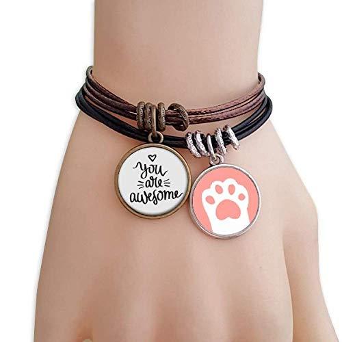 Haoda Damen You Are Awesome Zitat Katzen-Armband-Leder-Seil-Armband Paar Sets