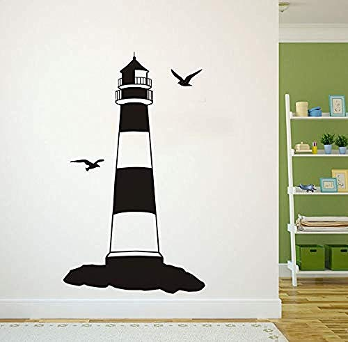 Wandaufkleber Zwei Vögel Hafen Turm Leuchtturm Wandaufkleber Removable Schlafzimmer Dekorative Klebstoff Muursticker Wandtattoo Vinyl Home Decor58X99Cm -