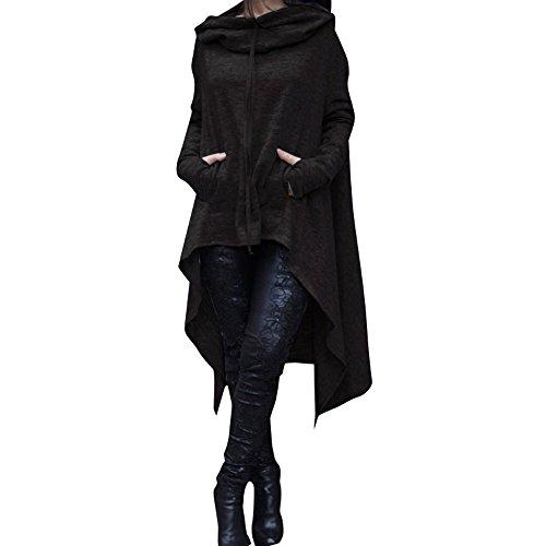 PZJ® Donna Felpa Con Cappuccio, Maniche Lunghe Felpe Stampato Pullover Felpa Casuale Sportive Tops, Donna Cotone Maglia Sportiva nero