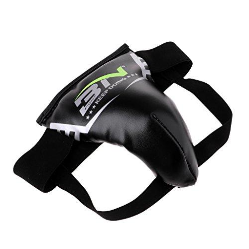Herren Jungen Tiefschutz Genital-Schutz Groin mit elastischem Hüftband für Kampfsport Boxen - L Schwarz Erwachsener