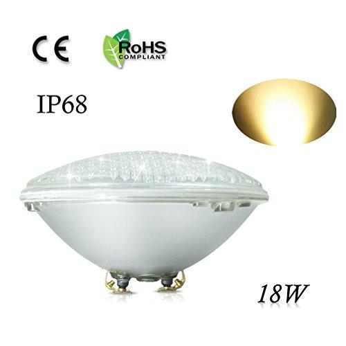 COOLWEST 18W Lampe de Piscine LED Blanc chaud Lumière PAR56 12V DC/AC, Etanche IP68 Éclairage sous-marin
