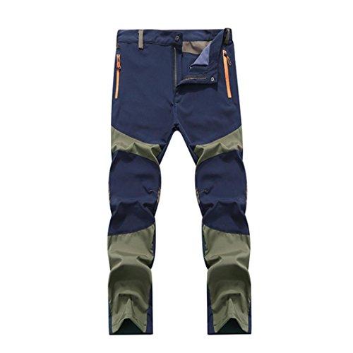 Pantalones de hombre Impermeable A prueba de viento Al aire libre Excursionismo Alpinismo Deportes Calentar Invierno Grueso Táctico Pantalones LMMVP (XXXL, Azul)