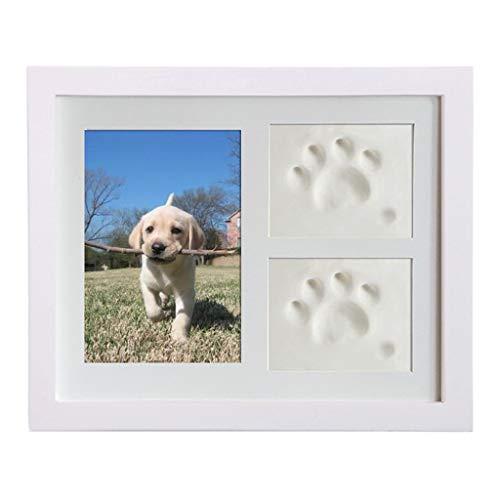 ruiruiNIE Pet Memorial Bilderrahmen Pet Paw Print Fotorahmen Kit Pet Keepsakes Kit für Katzen und Hunde, mit Ton, für Raumwand oder Tischdeko Weiß -