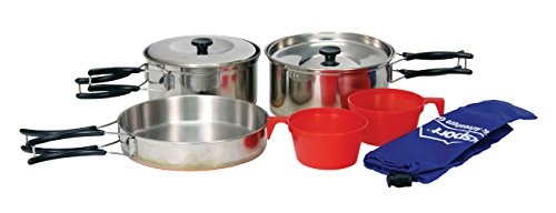 Texsport Stainless Steel Copper Bottom Outdoor Camping Cookware Cook Set with 2 Cups and Storage Bag